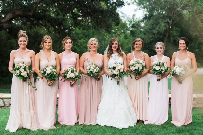 blush bridesmaid flowers greenery