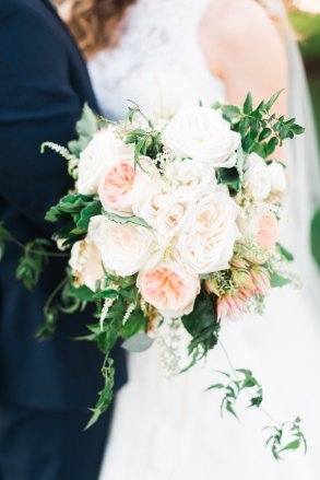 blush bridal bouquet greenery