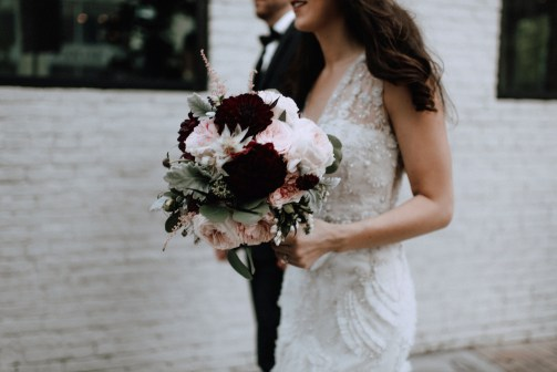 Fall bouquet of burgandy and blush.