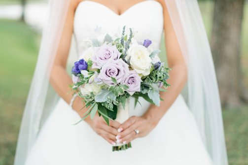 lavender rose bouquet white bridal