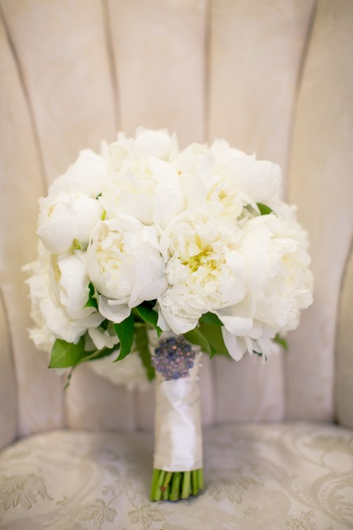 White peonies with sentimental locket.