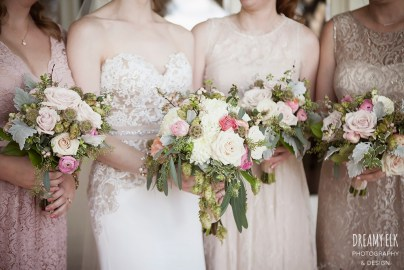 Bridal bouquet with hops and blush blooms