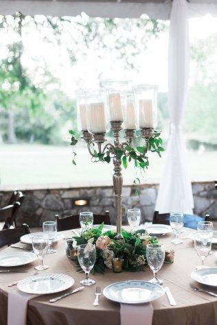 Silver candelabra for table centerpiece.