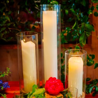 Candle lit and floral embellished entry.