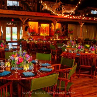 Reception dining area filled with vibrant colors and textures.