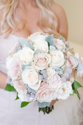 Bridal bouquet of blush winter flowers