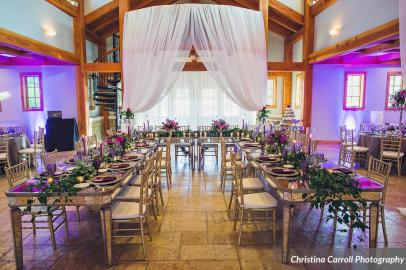 Indoor reception at Sacred Oaks with draping