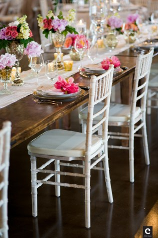 White chivari chairs and farm table for bridal party at Canyonwood Ridge.