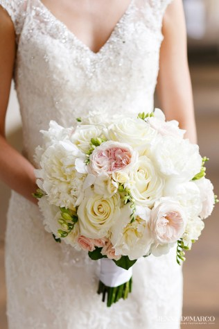 Traditional bridal bouquet of blush and white blooms