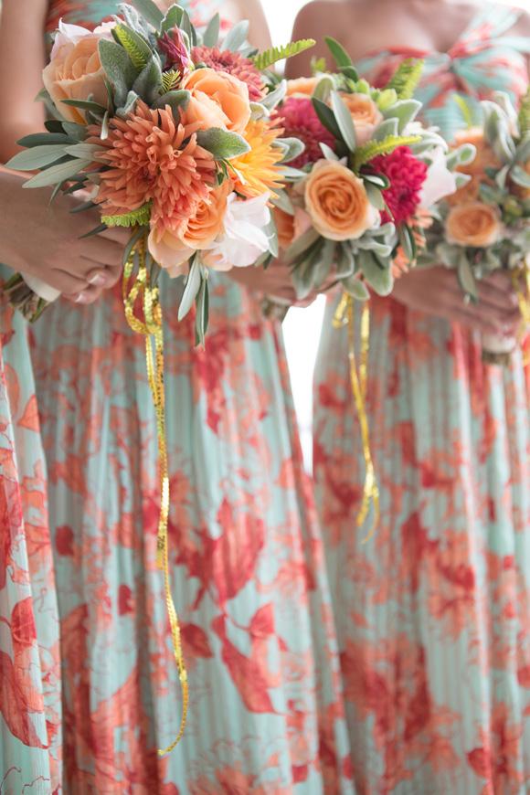 Coral Peach and Succulent Bridesmaids Bouquet Bouquet