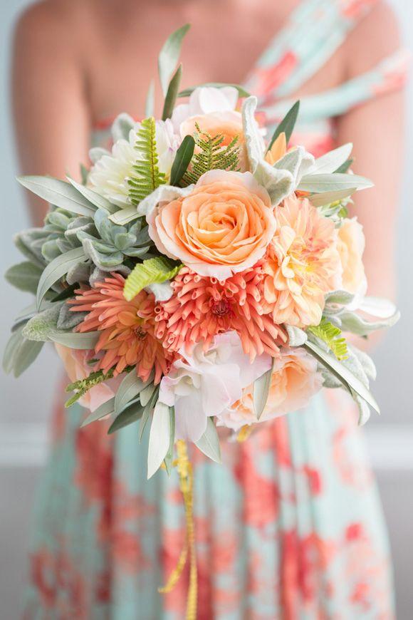 Coral Peach and Succulent Bridesmaid39s Bouquet Bouquet