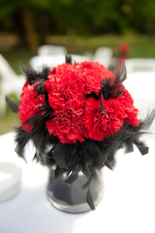 Red Carnations and Black Feathers Centerpiece  Bouquet Wedding Flower