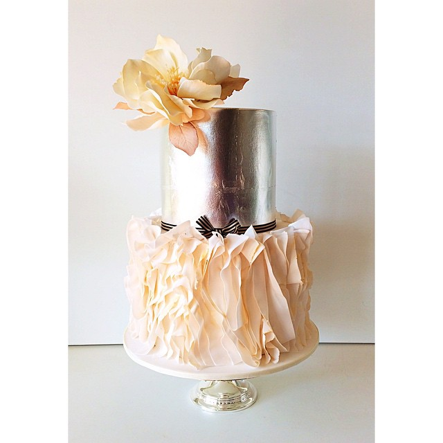 Silver and Ruffles Wedding Cake  Bouquet Wedding Flower