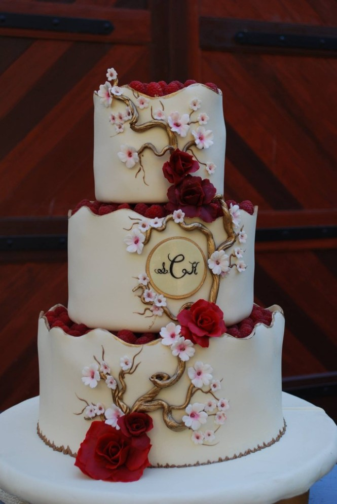 Red And Black Wedding Cakes On With White
