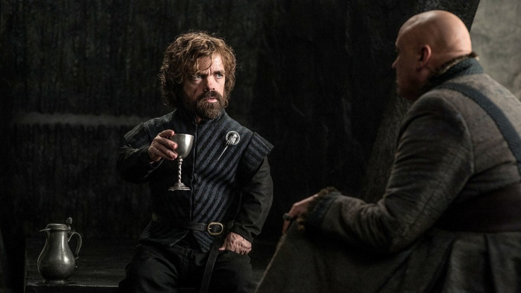 Tyrion and Varys having a discussion.