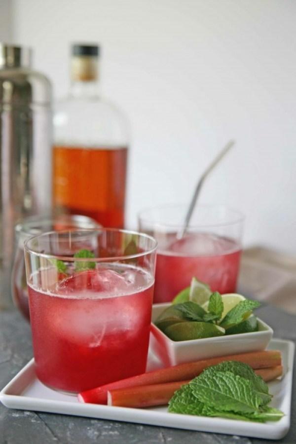 Rhubarb-Berry Bourbon Smash Cocktail   BourbonAndHoney.com
