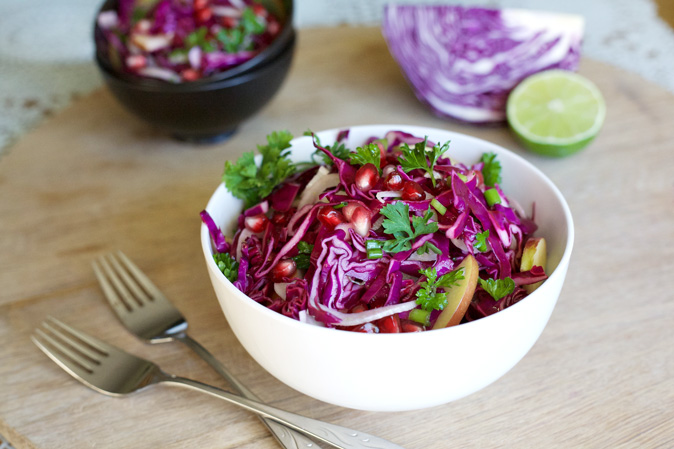 Apple and Cabbage Slaw with Pomegranates