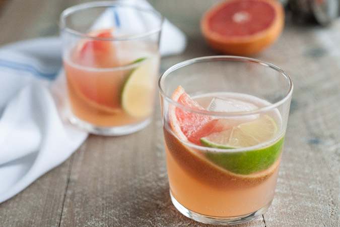 Grapefruit Gin and Tonic | BourbonandHoney.com -- Tart, citrusy and boozy, this Grapefruit Gin and Tonic is the prefect midwinter cocktail.