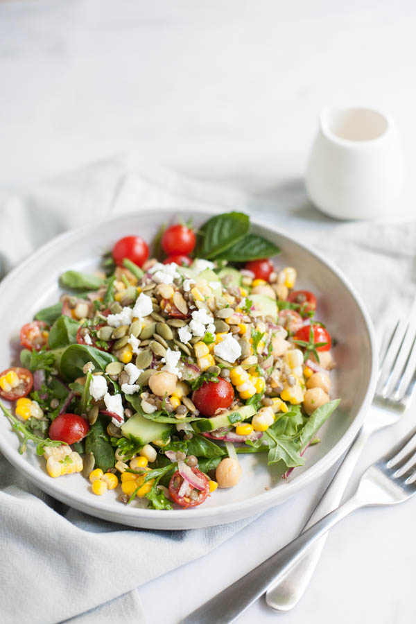 Summer Chickpea and Lentil Salad | BourbonandHoney.com -- Fresh, flavorful and packed with protein, this Summer Chickpea and Lentil Salad is a great way to enjoy the bounty of summer veggies!