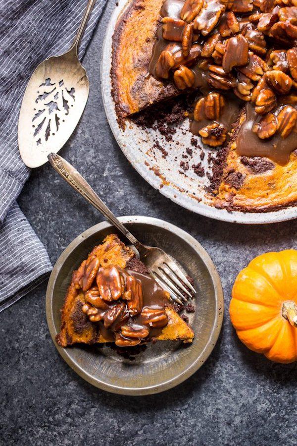 Bourbon Brownie Pumpkin Pie | Girl in the Little Red Kitchen
