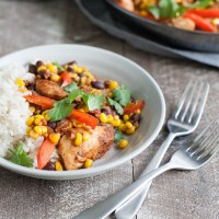 Easy Skillet Chicken with Black Beans and Corn