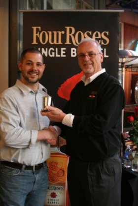 Varanese'sRory McCollister poses with Four Roses Master Distiller Jim Rutledge aftering winning 1st Place in the Four Roses Juelp Contest