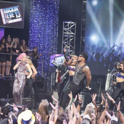 Flo Rida performs with  StayC at Dick Clark's New Years Rockin Eve