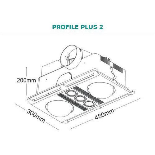 MARTEC PROFILE PLUS 2 SILVER LED3 IN 1 BATHROOM HEATER