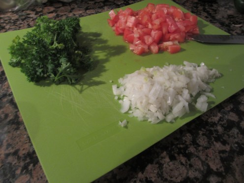 parsley, onions, and tomatoes
