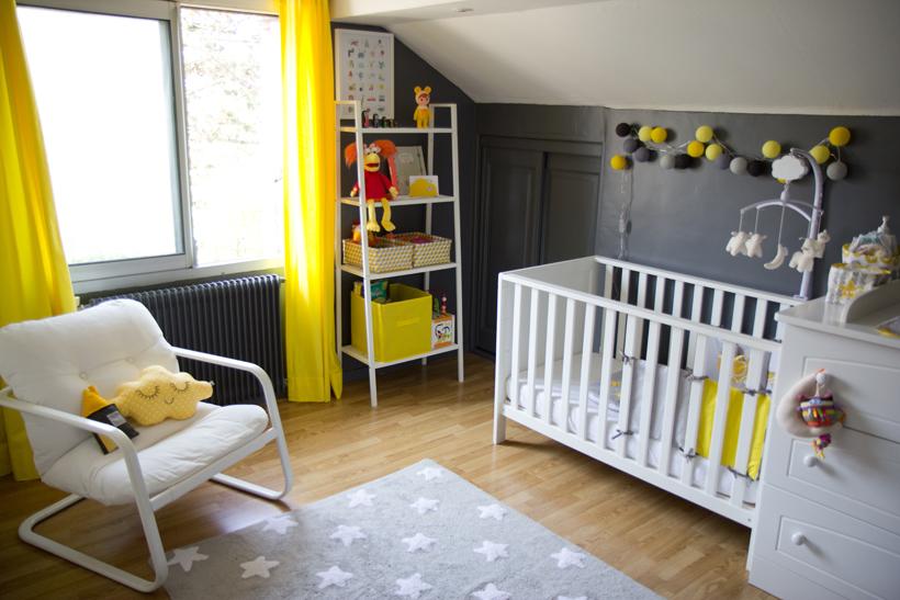 deco chambre bebe jaune et gris