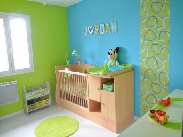 dco chambre vert et bleu