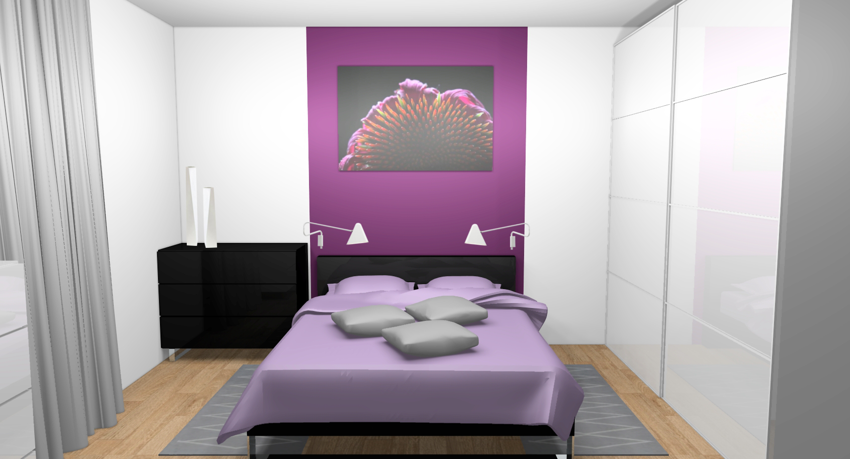 chambre decoration prune