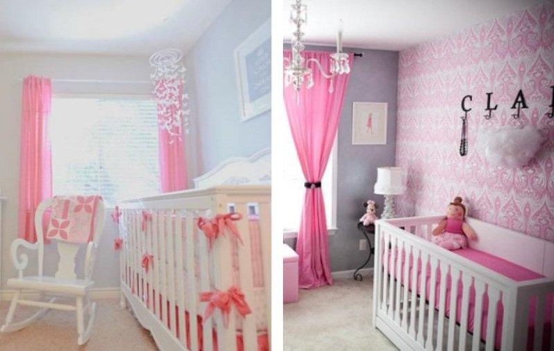 idee deco chambre bebe fille rose et gris  visuel 7
