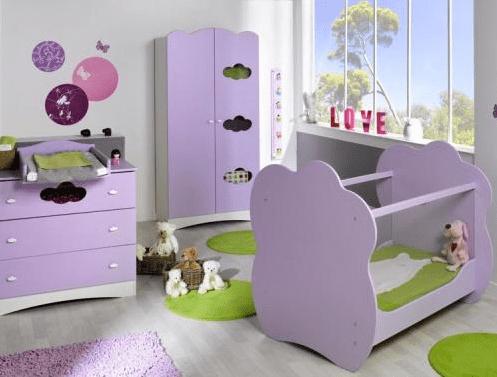 decoration chambre bebe mauve  visuel 6