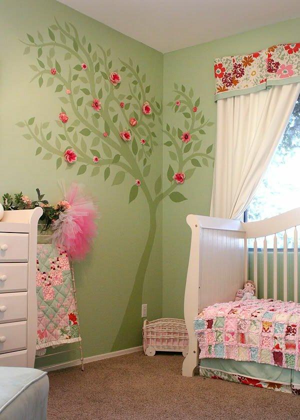 decoration chambre fille vert rose