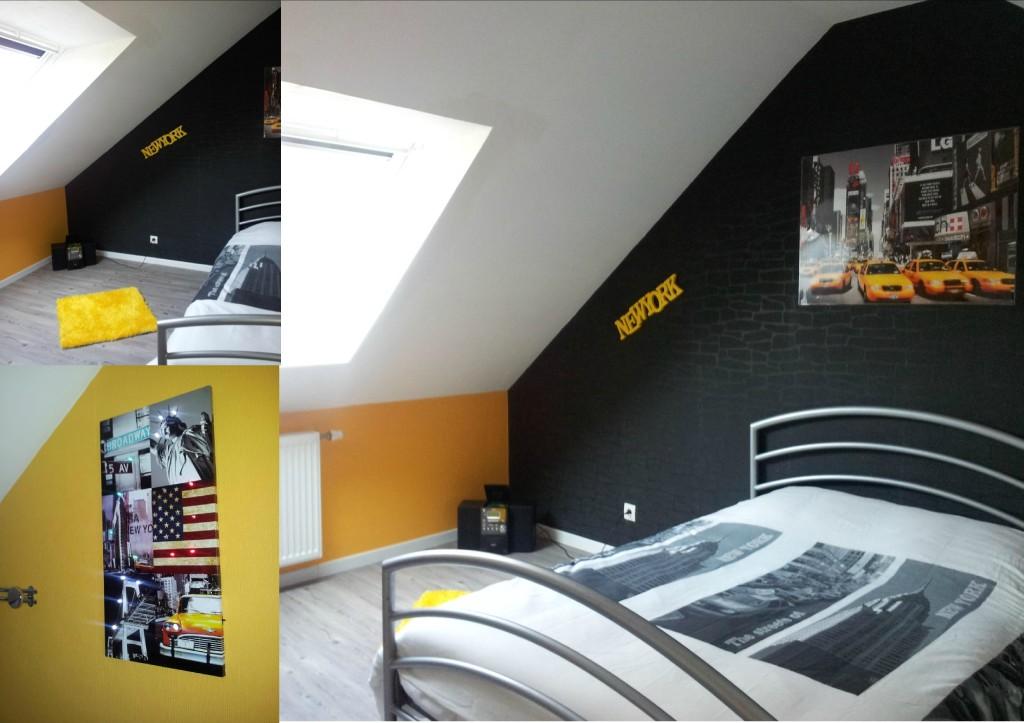 deco chambre ado gris et jaune
