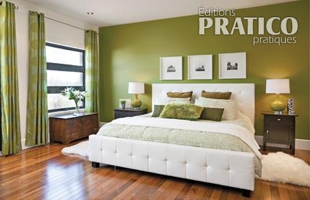 decoration chambre verte et blanc  visuel 4