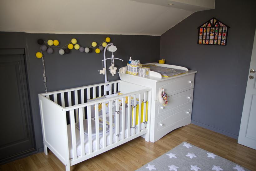 deco chambre bebe jaune gris