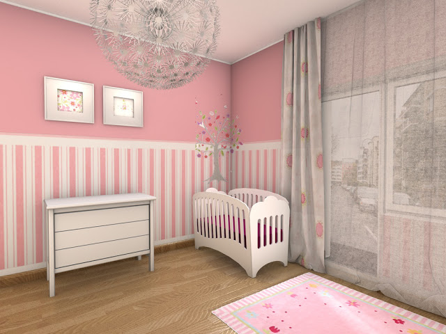 deco chambre fille rose et blanc