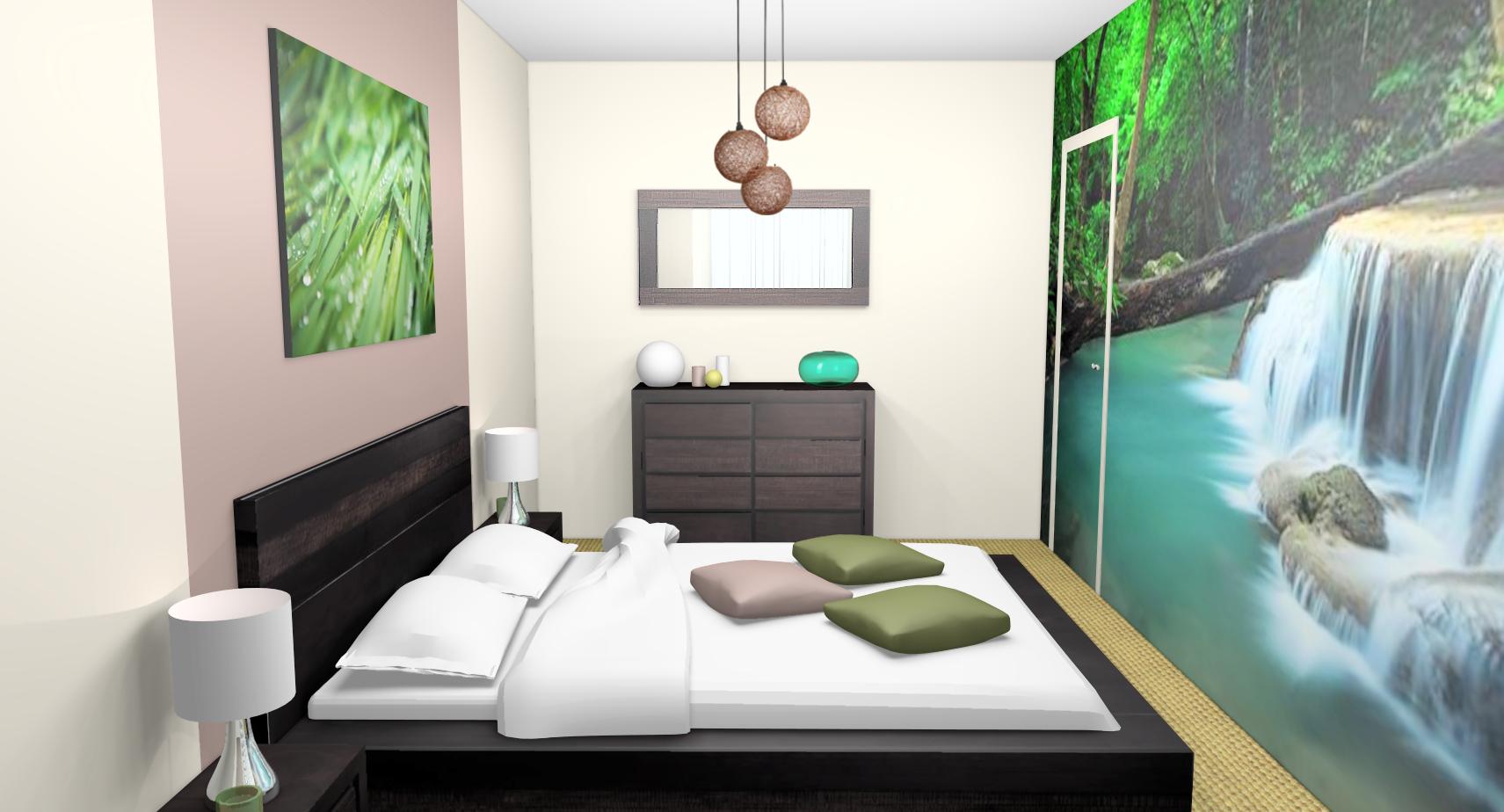 deco chambre zen vert gris