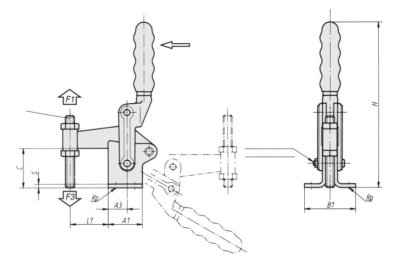 Sauterelle verticale à broche fixe série lourde