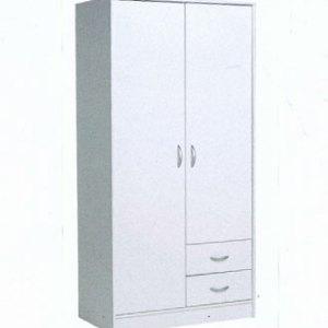 armoire balnche penderie 2 portes battante