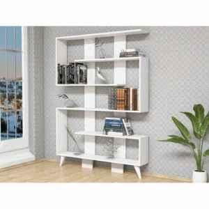 bibliothèque zigzag scandinave blanche