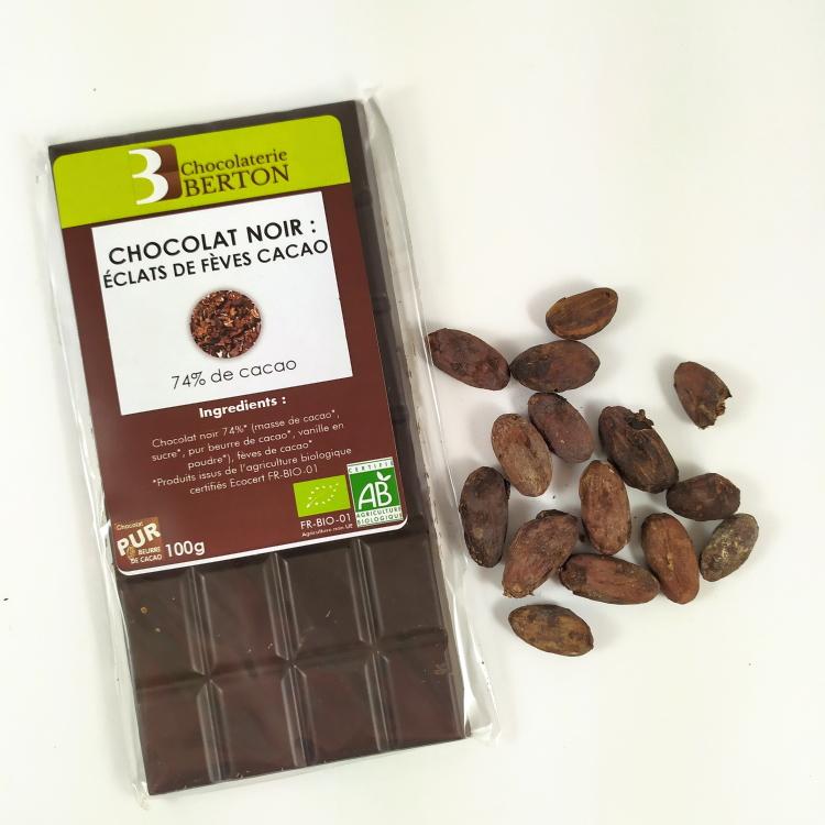 chocolat noir bio 74 eclats de feves