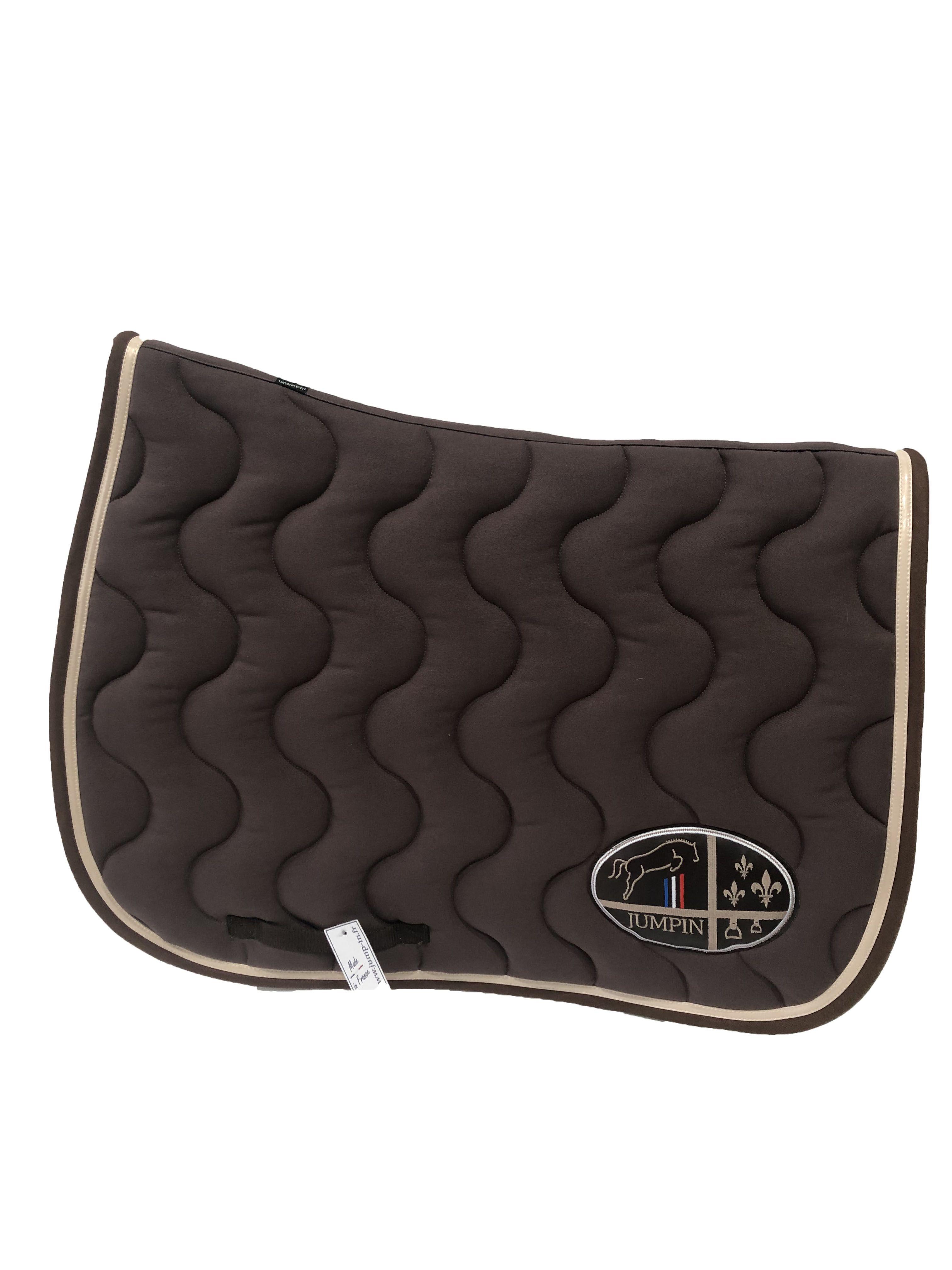 tapis de selle marron creme choco jump in boutique equitation