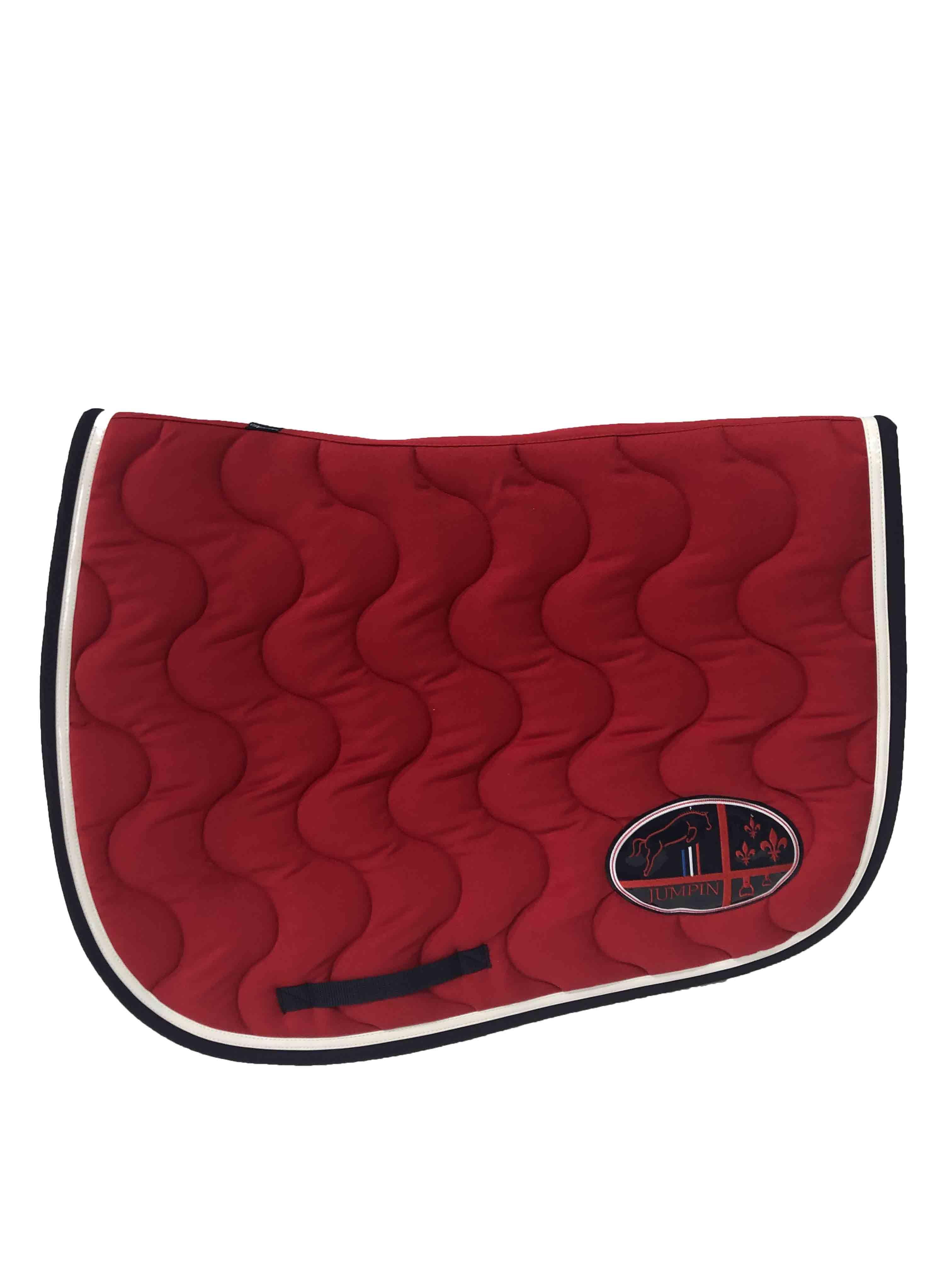 tapis de selle rouge blanc vernis bleu marine jump in boutique equitation