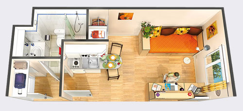 plan dun appartement f1