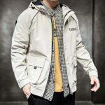 Automne Coupe-Vent Occasionnel Veste De Mode Hommes Coupe-Vent À Capuche Couleur Pure Zippée Plus La Taille Veste Manteau
