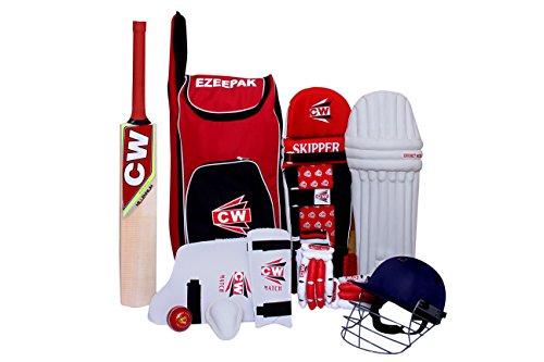 CW Junior Sports Cricket kit Rouge Taille N ° 5avec du cachemire en osier de qualité premium Batte de cricket Ezzepack épaule kit Sac Idéal pour les 9-10ans enfant
