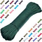 DonDon Corde Paracorde 30 Mètres Ruban de Tissu Lacet de Nylon Bracelet de Survie à Fabriquer et pour Activités de Camping en Extérieur 4 mm – 7 brins Olive